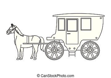 Antique horse carriage animal tractor in black and white