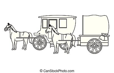 Antique horse carriages animal tractor in black and white