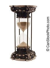 Antique hourglass isolated on white