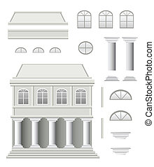 Antique house - Vector set of antique house on a white...