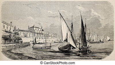 Catania - Antique illustration of boots moored at port of...