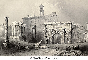 Roman Forum - Antique illustration of Roman Forum, Italy. ...