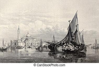 San Giorgio Maggiore - Antique illustration of San Giorgio...
