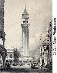 St. Mark's bell tower - Antique illustration of St. Mark's...
