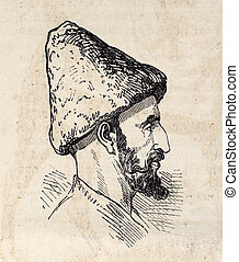 Antique illustration shows image of Persian man. Original illustration, engraved on design by E. Duhousset, was published on ?L'Illustration, Journal Universel?, Paris, 1860