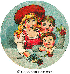 Antique image of three children