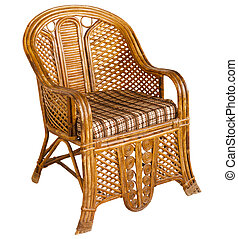 Antique indian wooden wicker armchair isolated on white
