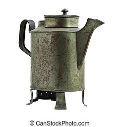 Antique iron pot. Isolated image.