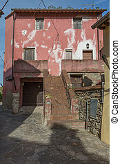 Antique Italian Architecture: Red House Facade and Stone Flooring
