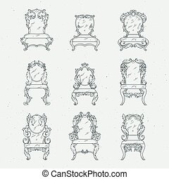 Antique italian chairs and armchair. Vector furniture isolated in white