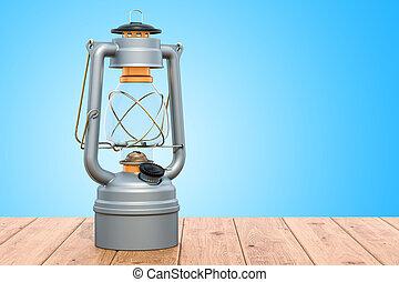 Antique Kerosene Lantern on the wooden table. 3D rendering