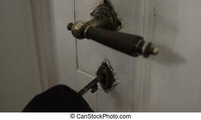 Antique Key Door Opening Evening Closeup