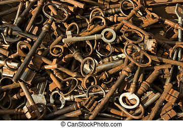 Antique-keys - A box of old rusted keys sold in an antique...