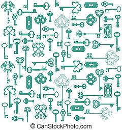 Antique Keys Background - for your design or scrapbook - in vector