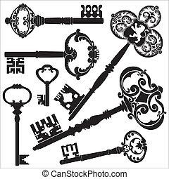 Antique keys - Several kinds of old antique keys.