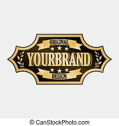 Antique label, vintage frame design, retro logo. - Golden...