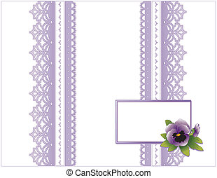 Antique Lace, Pansy Flower, Card - Victorian style present...