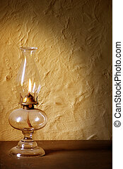 Antique Lamp - Antique lamp lighting wall with glow from...