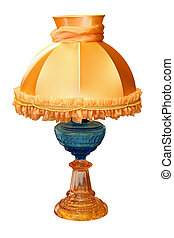 Antique lamp - Antique glass lamp isolated included clipping...