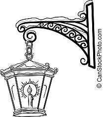 Antique lantern, contour - Vintage street lamp glowing in ...