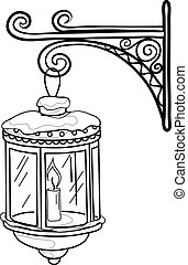 Antique lantern, contour