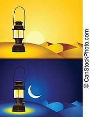 Antique lantern in the desert
