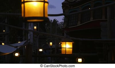 Antique lanterns on a historical street in Paris in the...