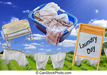 Antique Laundry - Grandma's day, ancient machine and...