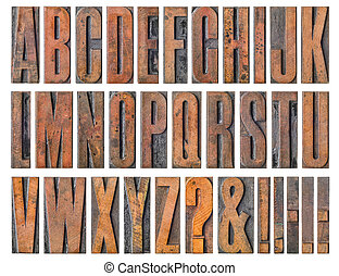 Antique letterpress wood type printing blocks - Alphabet