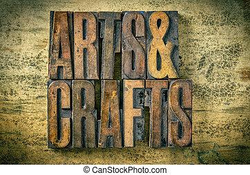 Antique letterpress wood type printing blocks - Arts and Crafts