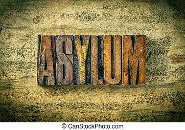 Antique letterpress wood type printing blocks - Asylum