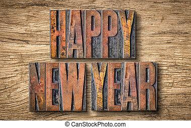 Antique letterpress wood type printing blocks - Happy New Year