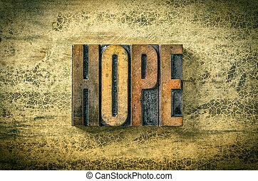 Antique letterpress wood type printing blocks - Hope
