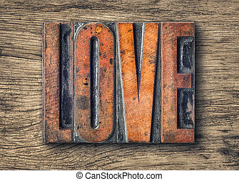 Antique letterpress wood type printing blocks - Love