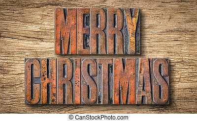 Antique letterpress wood type printing blocks - Merry Christmas