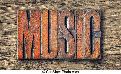 Antique letterpress wood type printing blocks - Music