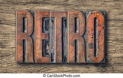 Antique letterpress wood type printing blocks - Retro