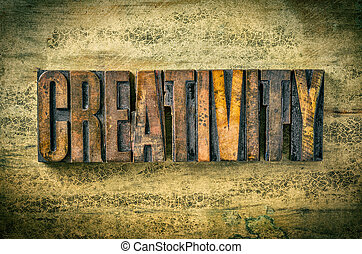 Antique letterpress wood type printing blocks - Creativity