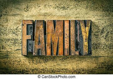 Antique letterpress wood type printing blocks - Family