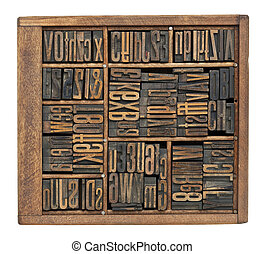 antique letters, numbers and ligature - vintage wood...