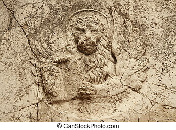 antique lion relief