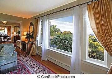 Antique living room window view