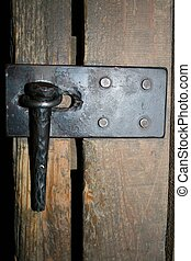 Antique Lock for outbuildings - Extreme Close up of a...
