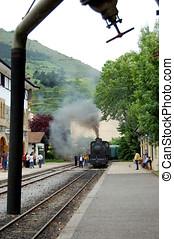Antique locomotive crossing a station