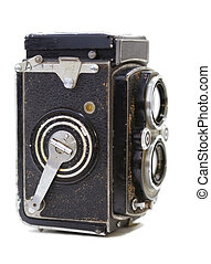 Antique - Macro of an old Rolleiflex camera.