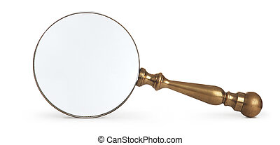 antique magnifying glass on white background - antique brass...