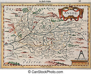 antique map - Copper graved map of the XVII century, Anjou...