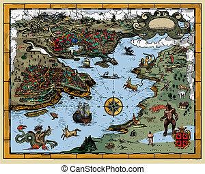 Antique map - Vector illustration of antique map