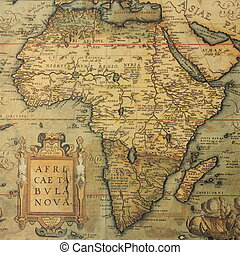 antique map of Africa - Reproduction of 16th century map of...