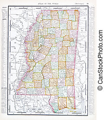 Antique Map of Mississippi, MS, United States, USA - Vintage...